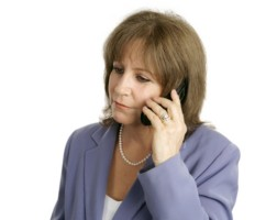 divorcing mid-life woman on phone